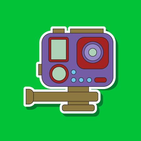 Paper sticker on background of camcorder Illustration