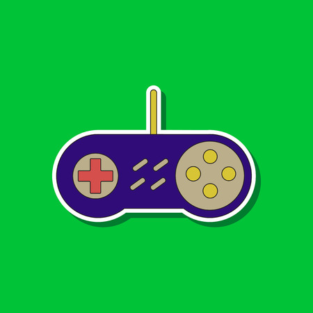 Paper sticker on background of game joystick