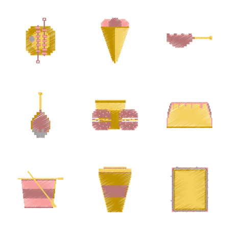 assembly of flat shading style pixel icon fast food Illustration