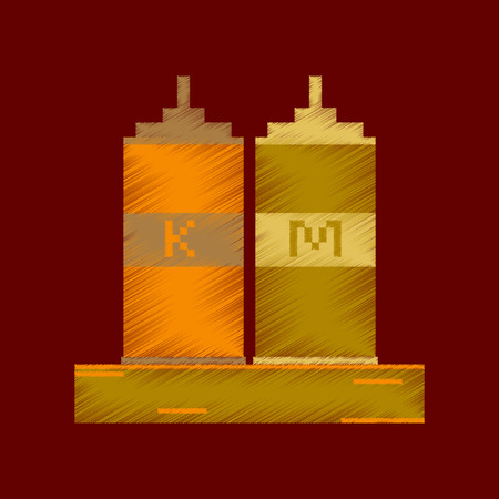 mayonnaise: flat shading style icon pixel ketchup and mustard Illustration