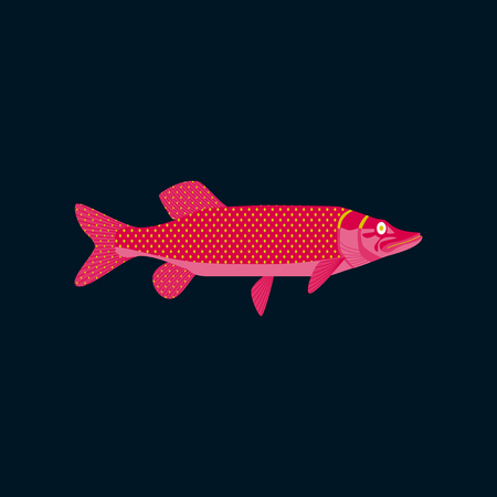pike: Vector illustration in flat style pike