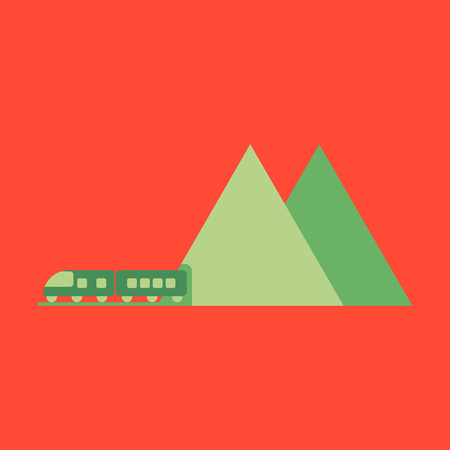 highspeed: Icon in flat design for airport mountain train Illustration