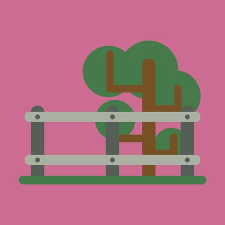 Vector illustration of flat icon Fenced tree