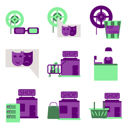 movie theater: A Vector illustration of flat icons set cinema Illustration