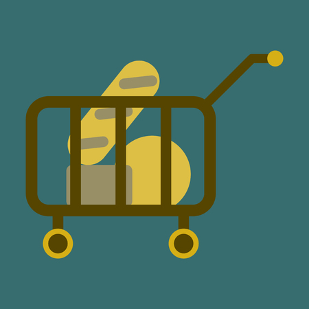 A Vector illustration of flat icon shop cart with food