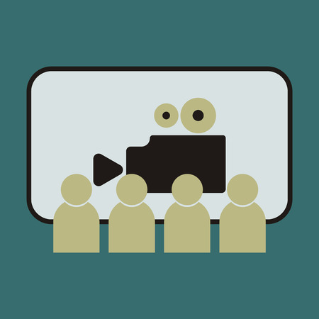 cinema screen: Vector illustration of flat icon People in cinema