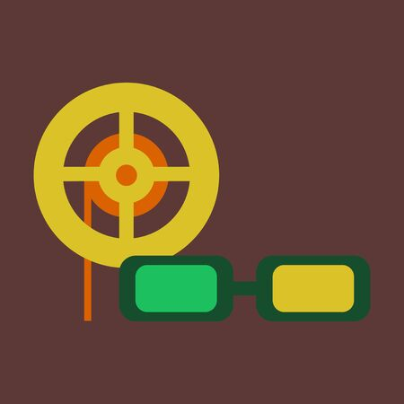 movie theater: Vector illustration of flat icon 3d cinema