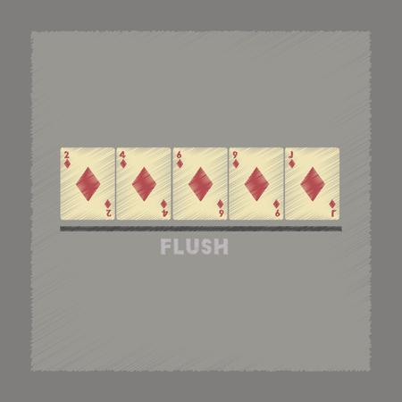 straight flush: flat shading style icon flush