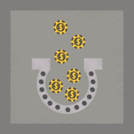 luckiness: flat shading style icon good luck logo