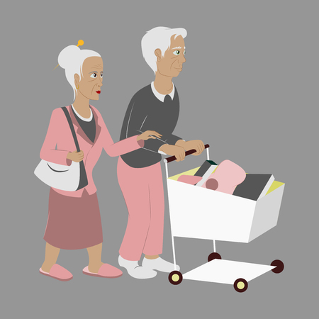 Pensioners with a trolley products Vectores