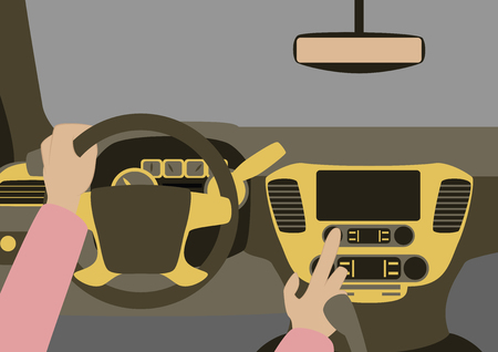 rural road: Car inside. The driver presses the buttons Illustration