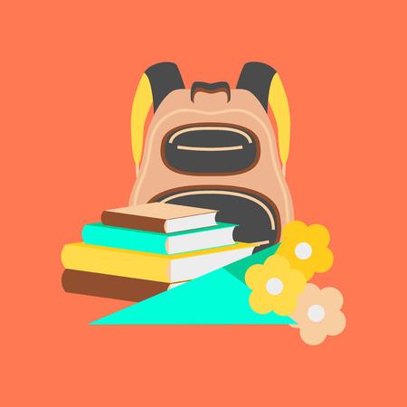 bookbag: flat icon on stylish background book bag flowers