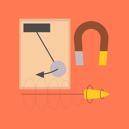flat icon on stylish background Physics lesson magnet Illustration