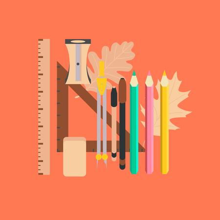 flat icon on stylish backdrop pencils pens ruler