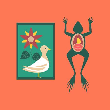 flat icon on stylish background Biology frog bird flowers Illustration