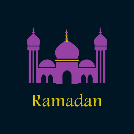 the inscription: Icon in a flat style Ramadan mosque Illustration