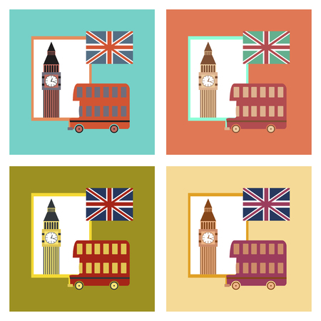 britannia: assembly flat icons United Kingdom set Illustration