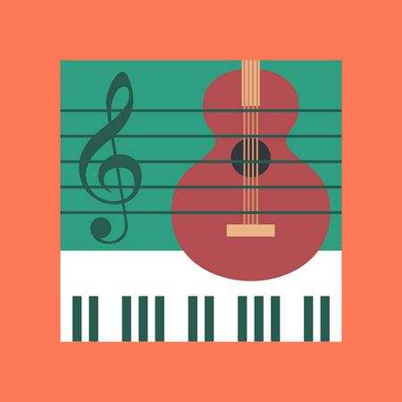 musical score: flat icon on stylish backdrop music lesson