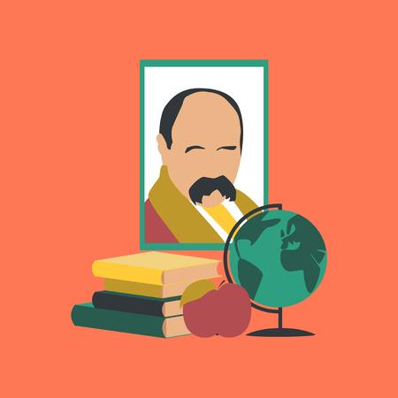 flat icon on stylish background Ukrainian literature lesson Illustration