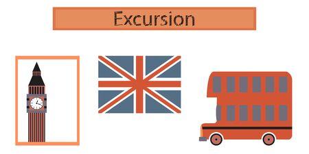 assembly flat icons United Kingdom set Illustration