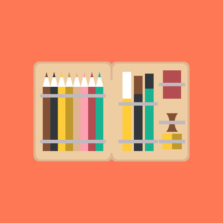 pen and marker: flat icon on stylish background pencil box pencil pen
