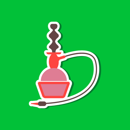 paper sticker on stylish background of smoke hookah