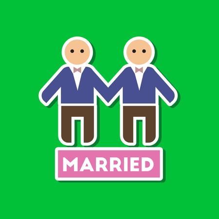 paper sticker on stylish background of gays newlyweds wedding Illustration