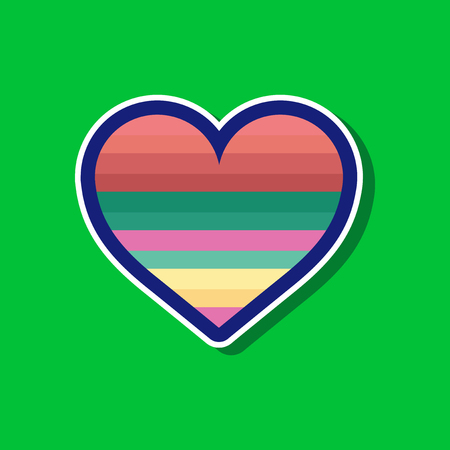 paper sticker on stylish background of gays rainbow heart
