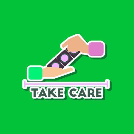paper sticker on stylish backdrop of hand condoms Illustration