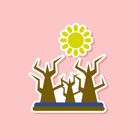 paper sticker on stylish background of nature drought disaster