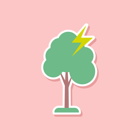 paper sticker on stylish backdrop of lightning tree