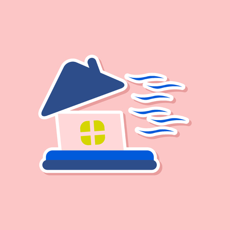 paper sticker on stylish background of storm the house