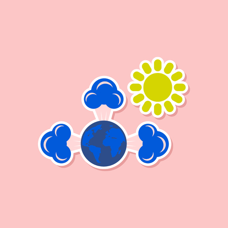 the greenhouse effect: paper sticker on stylish background of earth greenhouse effect