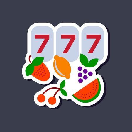 paper sticker on stylish backdrop Lucky seven