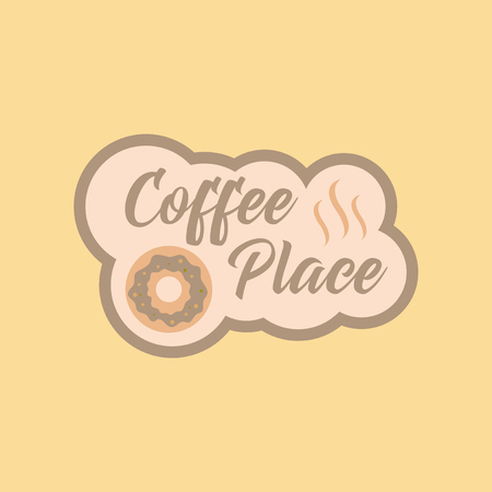 hot couple: flat icon on background coffee drink place logo