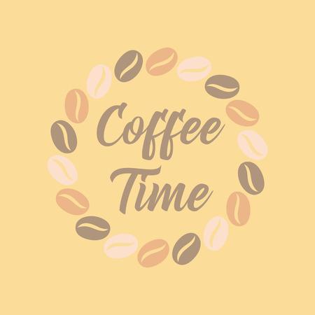 flat icon on background bean Coffee time logo