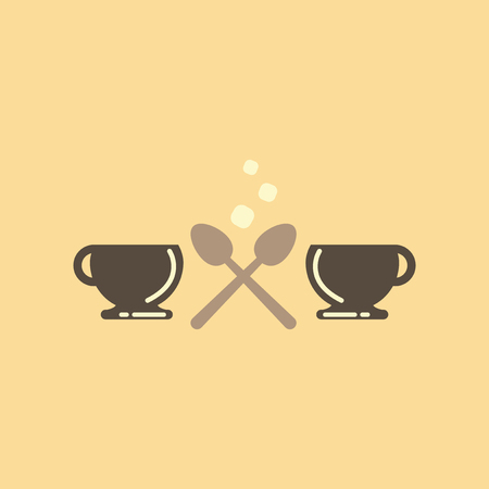 flat icon on background cups hot coffee