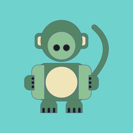 flat icon on background Kids toy monkey
