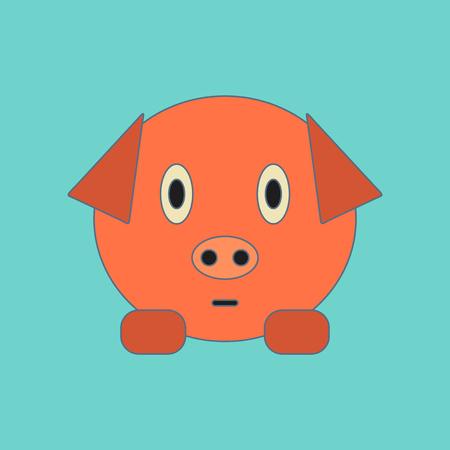 flat icon on stylish background Kids toy pig Illustration