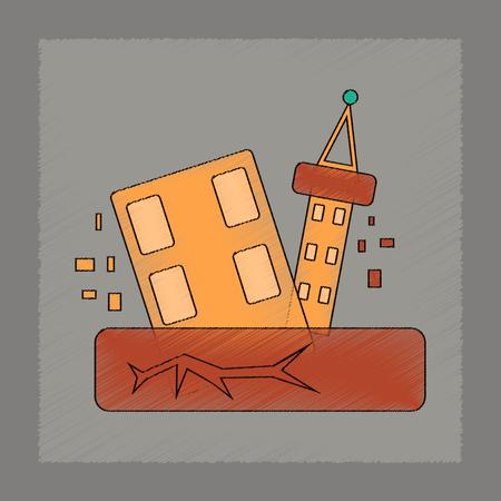 earthquake crack: flat shading style icon natural disaster earthquake