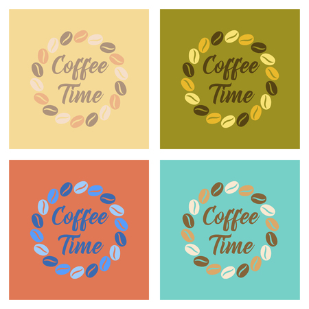 Assembly of flat icons bean Coffee time logo Illustration