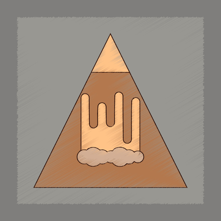 A flat shading style icon of mountain avalanche
