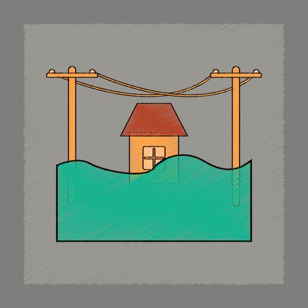 flat shading style icon flood house