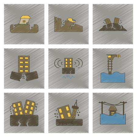Assemblage plat ombrage style icône tremblement de terre tremblement de terre et inondation Banque d'images - 78023063