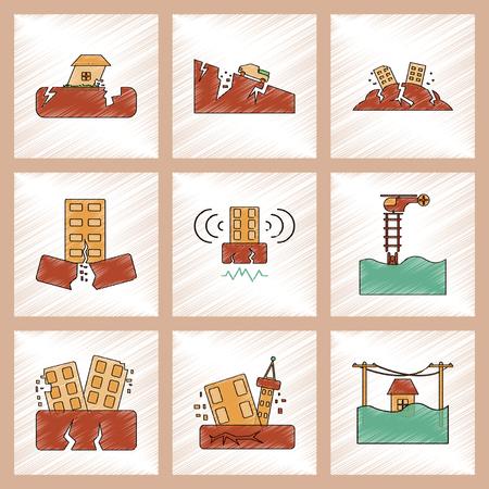 Assemblage plat ombrage style icône tremblement de terre tremblement de terre et inondation Banque d'images - 78056078