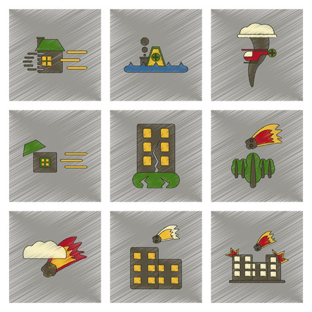 disaster: Assembly flat shading style icon natural disasters Illustration