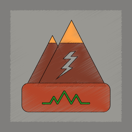 earthquake crack: A flat shading style icon of natural disaster earthquake Illustration