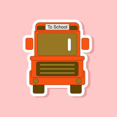 schoolbus: paper sticker on stylish background school bus