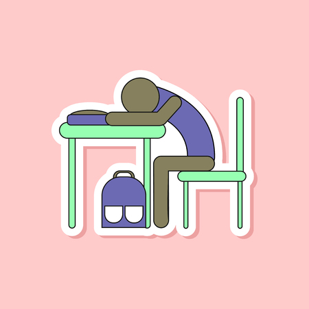 paper sticker on stylish background student sleeping at the desk