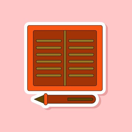 open notebook: paper sticker on stylish background notebook and pen Illustration